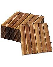 Hengda Houten Tegels 55 stuks Splicing vloer Balkon Terras ca. 5qm acaciahout FSC®-Gecertificeerd Tegels van 30 x 30 cm