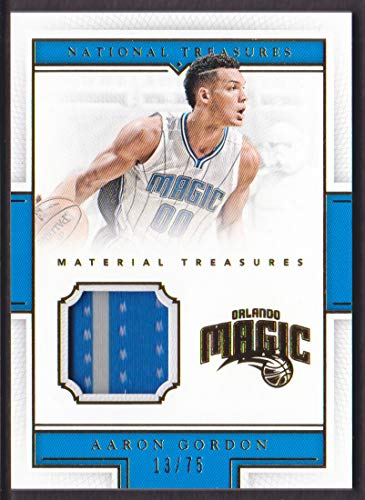 2015-16 National Treasures Material Jersey #5 Aaron Gordon /75 Orlando Magic