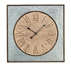 Tripar International 31.5 Silver and Brown Wall Clock with Rope Roman Numerals