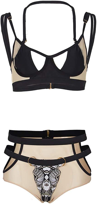 ZXCC Swimsuit Female, Sexy Bikini Split Hollow High Waist Retro Swimsuit (color  Black) (color   BLACK, Size   L)