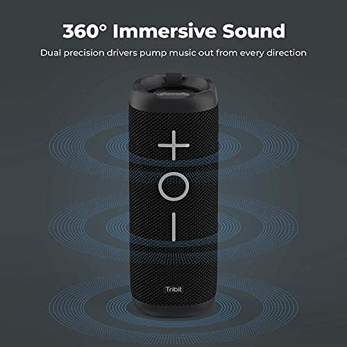 Tribit StormBox Bluetooth Speaker - 24W Portable Speaker, 360° Full Surround Sound, Enhanced Bass, Wireless Dual Pairing, IPX7 Waterproof, 20-Hour Playtime, 66ft Bluetooth Range Outdoor Speaker