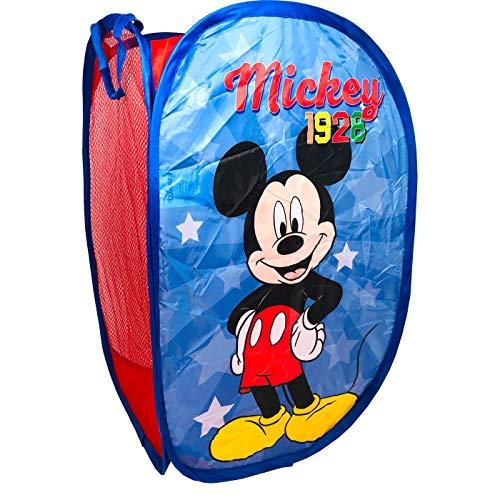Cesta Plegable Infantil de Tela con Asas Mickey Organizador para Ropa y Juguetes (58x36x36) Cuarto de Niños, Contenedor Habitación Niños, Cesto Dormitorio Bebe, Color Azul