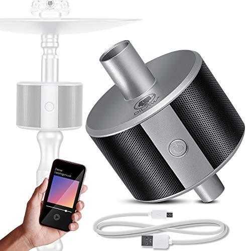 DILAW® Shisha ECO Bluetooth Speaker Hookah SoundBar Mini Bluetooth Lautsprecher, 80dB Kabellose Tragbare Wasserpfeife Musikbox mit 24 Farbige LED 10m Bluetooth Reichweite 350 mAh, Silber
