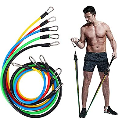 Exercise Resistance Bands Set, Stretch Training Band Set with Door Anchor, Physical Therapy Keep Fit Exercise Bands with Handles, Ankle Straps and Carry Bag, 11 Pack Suitable for Any Fitness Level