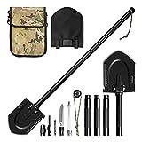 Survival Shovel Multitools (Compass, Cone, Screwdriver, Knife, Whistle, Flintstone, Harpoon), softeen Heavy Duty