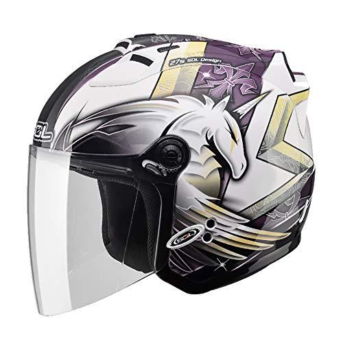 Personalidad Cool Unicornio Cascos Moto Half-Helmet con Luz de Advertencia LED, Transpirable Impermeable Hombres Mujeres Casco Jet ECE Certificado M-2XL (55-62cm) Morado