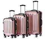 BEIBYE Hartschalen Koffer Trolley Rollkoffer Reisekoffer 4 Zwillingsrollen Polycabonat (Rosa Gold, Kofferset)