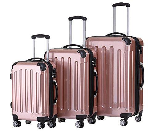 BEIBYE- 3er Kofferset Hartschalen-Koffer Reisekoffer Trolley Rollkoffer Set Reisekofferset (Rosa-Gold)