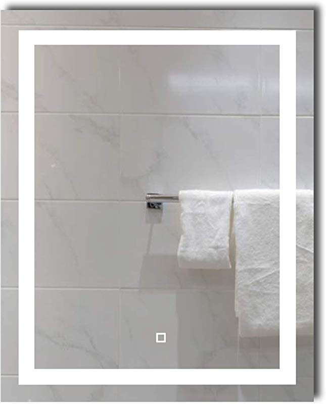24X30 Inch Dimmable LED Lighted Bathroom Wall Mounted Vanity Mirror Dimmable Memory Touch Switch 6500K High Lumen LED True Color CRI 90 Vertical Horizontal Installation