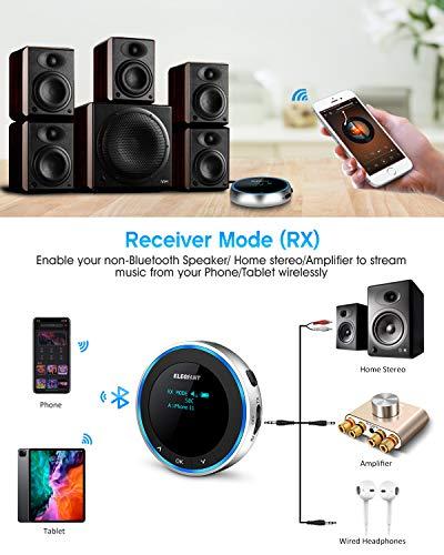 ELEGIANT Transmisor Bluetooth 5.1 Visible para TV, Adaptador + Receptor Inalámbrico USB 2 en 1 de Baja Latencia Sonido HD AUX/RCA, Dual Enlace para Auricular Equipo Estéreo Altavoz Cascos