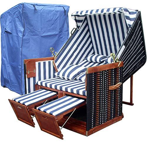 XINRO® Strandkorb Nordsee XL Volllieger Sylt - XY-01 - blau-weiß gestreift, schwarzes Polyrattan - 118cm breit - inkl. 2 Klapptische - inkl. 4 Kissen - inkl. Strandkorbschutzhülle