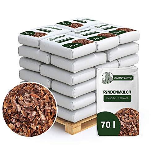 MammutGarten Rindenmulch Kiefer Rinde Garten Deko 60-120 mm 70l Sack x 30 STK (2100 L)