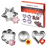 12 Pcs Cookie Cutter Set, Mini Stainless Steel Geometric Cookie Cutters Shapes Heart Star Circle/Round Flower Mould for Biscuit Pastry Baking Fondant Sandwich Cake Decorating Kids Clay Christmas
