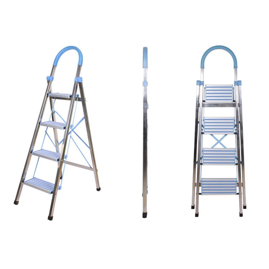 Lkk Escalera de Acero Inoxidable de Escalera de Acero Inoxidable Escalera de Mano Plegable Escalera Antideslizante escaleras, Teniendo Peso 150 kg (Color : Blue, Size : 75 * 46 * 144CM): Amazon.es: Hogar