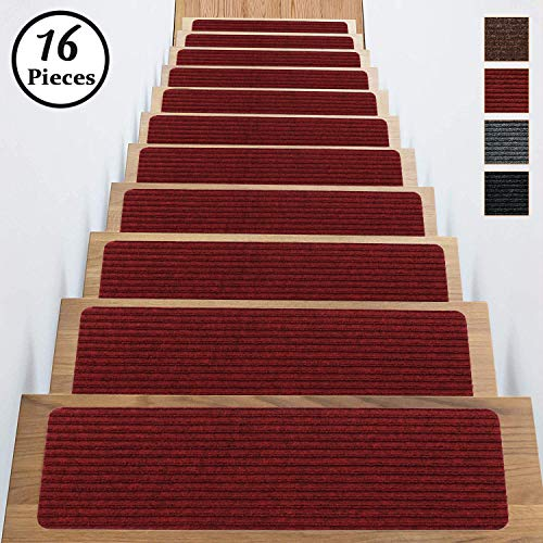 Stair Treads Carpet Anti Non Slip Skid Indoor Set of 16 Pack 8x30 Inch Dark Red Self Adhesive Rugs