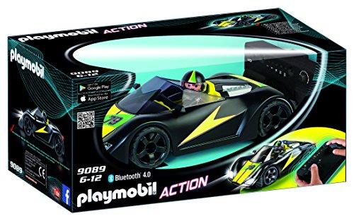 Playmobil- Voiture de Course Noire radiocommande, 9089