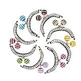 PH PandaHall 8個セット がま口 口金 鉄製 小さめくちがね 留め金 ロック 財布&小銭入れ フレーム ハンドル くし型(半円形) 口金パーツ カラフル あめ玉付き 縫い付けタイプ 手作り 素材 裁縫材料 63x80~82x9.5mm プラチナ