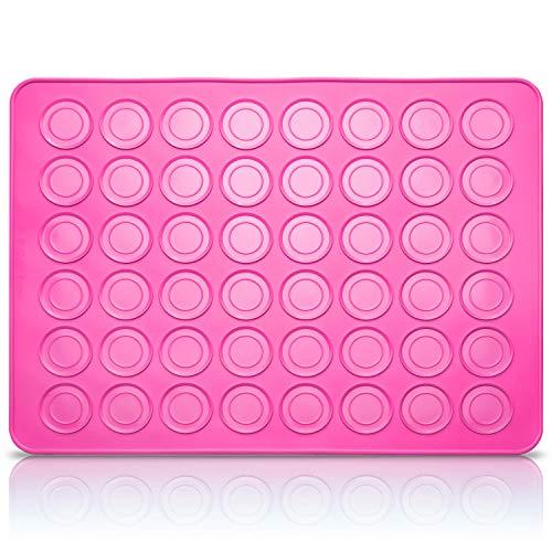 Belmalia Macarons Backmatte aus Silikon für perfekte Makronen | Antihaft Silikonform | Wiederverwendbar | Rosa Pink