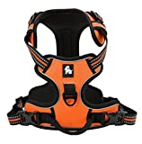 Vivi Bear Durable Dogs Harness Vest With 3M Safety Reflective Stripes Pet Harness Vest Adjustable Padded With Dog Leads Ring, Suitable For Large/Medium/Small Dog Harness, 5 Sizes Orange (M)