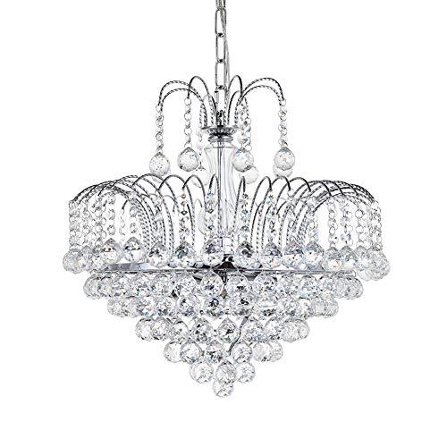 A1A9 Moderne Elegante Kronleuchter, klare K9 Kristall Tröpfchen Deckenleuchten mit 6-Licht, luxuriöse LED Pendelleuchte für Esszimmer Wohnzimmer Foyer Flur Treppe Wohnkultur