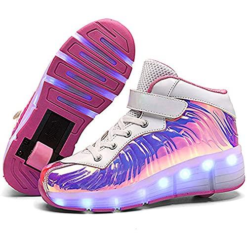 YAWJ Zapatos Multiusos 2 En 1 Patines Zapatillas Quad Roller Polea Los Patines Hielo para El Adulto Deportes Al Aire Libre De Deporte Rodillo Shoes Sneakers (Color : Pink Single Wheel, Size : 40)
