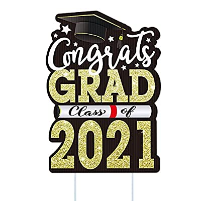 """PETCEE 2021 Graduation Yard Signs Outdoor Decorations,12""""x17"""" Congrats Grad Class of 2021 Yard Sign with Stakes for High School College University Graduation Party Decor Photo Props"""