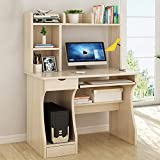 Queiting Home Office Desk Wood Computer Desk with Drawer Shelves Desktop PC Table