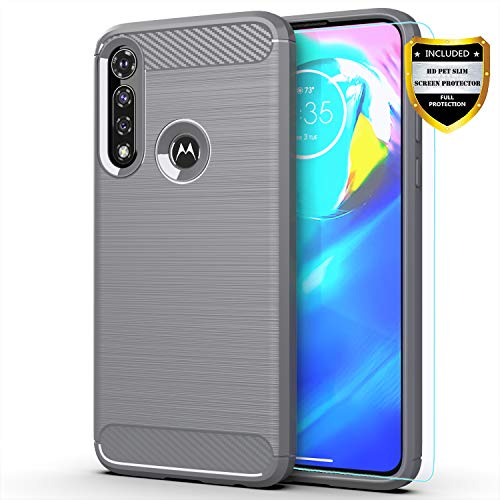 Moto G Power case,Motorola G Power case,with HD Screen Protector,MAIKEZI Soft TPU Slim Fashion Non-Slip Protective Phone Case Cover for Motorola Moto G Power 2020(Gray Brushed TPU)