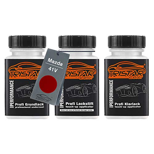 TRISTARcolor Autolack Lackstift Set für Mazda 41V Soul Red Metallic/Rubinrot Metallic Grundlack Basislack Klarlack je 50ml
