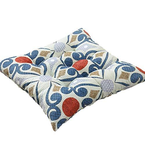 KongEU Sitzkissen, quadratisch, 40 x 40 cm, mit Bändern, für Innen-/Garten- und Esszimmerstühle, Polyester