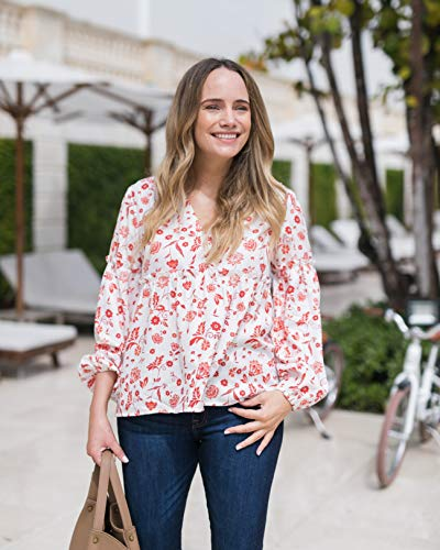 The Drop Women's Ivory Floral Print V-Neck Balloon-Sleeve Top by @graceatwood
