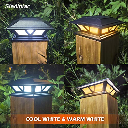 Siedinlar Solar Post Lights Outdoor 2 Modes LED Deck Fence Cap Light for 4x4 5x5 6x6 Posts Patio Garden Decoration Warm White/Cool White Lighting Black (2 Pack)