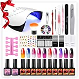 Saint-Acior Kit Smalti Unghie Gel Che Cambia Colore con la Temperatura 10pcs Smalti Semipermanenti Camaleonte 36W Lampada LED Lampada UV Kit Nail Art Completo