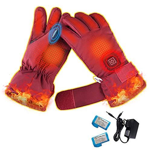 Damen Elektrische Beheizbare Handschuhe mit Wiederaufladbare, Wasserdicht Touchscreen Heizung Thermo Handschuhe zu Winter Outdoor Klettern Wandern Radfahren Snowboarden, Camping Wandern Jagd