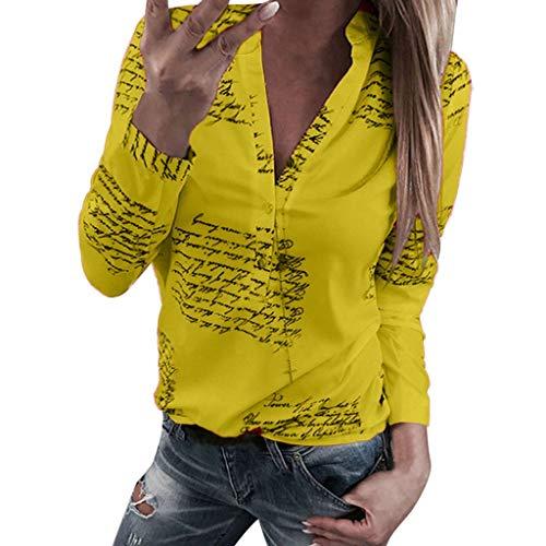 Reooly Botones de Mujer con Cuello en V Botón de impresión Camiseta de Manga Larga Tops Blusa