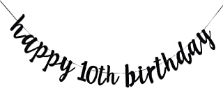 UR-PartyGo Happy 10th Birthday Banner, 10th Birthday Party Hang Bunting Sign Decorations Photo Props, Party Favors, Supplies, Gifts, Themes and Ideas