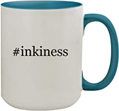 #inkiness - 15oz Hashtag Ceramic Inner & Handle Colored Coffee Mug, Light Blue