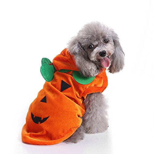 Fossrn Perro Halloween Disfraz Calabaza Abrigo con Capucha Ropa para Mascota Gato Cachorros Chihuahua Yorkshire
