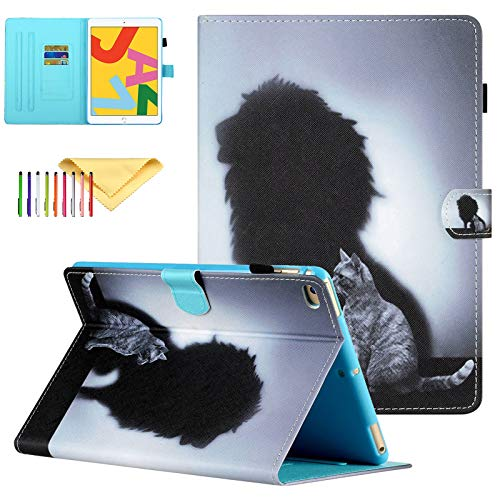 Uliking Case Compatible with Apple iPad 9.7 Inch 6th/5th 2018/2017, iPad Air 2/1 Smart Shell Stand PU Leather Cover with Pencil Holder, Backview