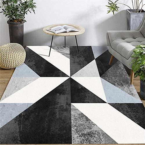 Alfombras Alfombra niña Alfombra de la Sala de Estar con patrón geométrico de diseño de Tinta Blanca Negra Azul alfombras Juveniles para Dormitorio Bedroom Rug 50*80cm