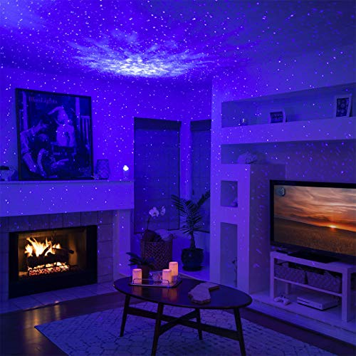 BlissLights Sky Lite - Laser Projector w/LED Nebula Cloud for Game Rooms, Home Theatre, or Night Light Ambiance (Blue/Blue)