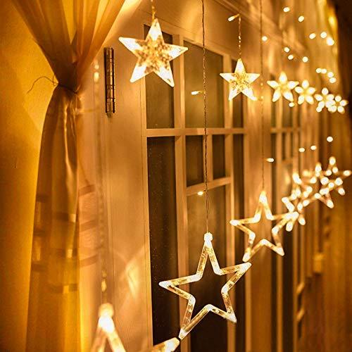 Iluminación Navidad Interior Avoalre Luz Cortina Led 12 Estrella Guirnalda de Luces Pared Ventana Escaparate Estante Fiesta Boda