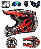 DRYT Casco Motocross Niño, Casco de motocross profesional Cascos de Cross de Moto Set con Gafas/Máscara/Guantes, para MTB Casco Enduro MX Quad ATV de Descenso (E,M: 57-58 cm)