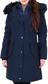 Women's Faux Fur Trim Mid-Length Winter Bib Parka Coat