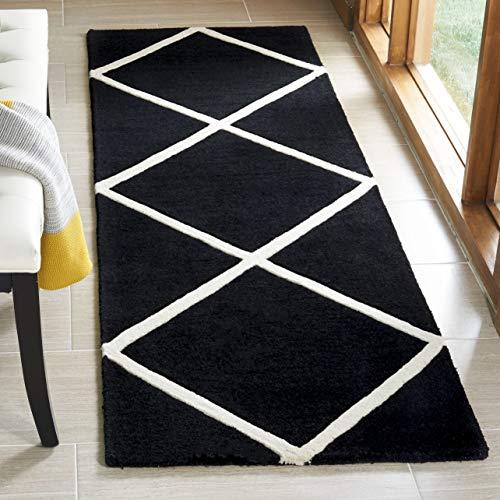 Safavieh Chatham Collection CHT720K Handmade Black and Ivory Premium Wool Runner (2'3' x 7')