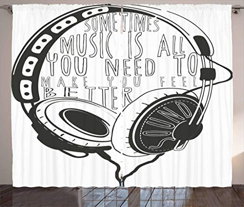 """Ambesonne Music Curtains, Headphones Industrial Design Sketch with Words Audio Sound Stereo Scribble, Living Room Bedroom Window Drapes 2 Panel Set, 108"""" X 63"""", Charcoal Grey White"""
