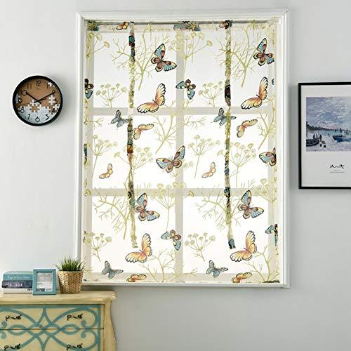 ZHOUBA - Cortinas Decorativas Cortas para Ventana, diseño de Mariposas y Flores, 60 x 120 cm