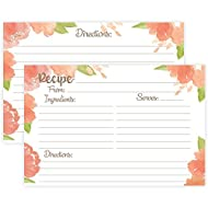 Peach Watercolor Floral Recipe Cards (Set of 50) Double Sided - 4 x 6 Cards