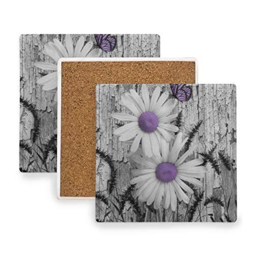 PANILUR Purpurrotes graues weißes Gänseblümchen Blumen Schmetterlings Schwarz Fuchsschwanz Gras,Untersetzer Saugfähige Keramik,für Tassen Tisch Bar Glas(4 Packs)