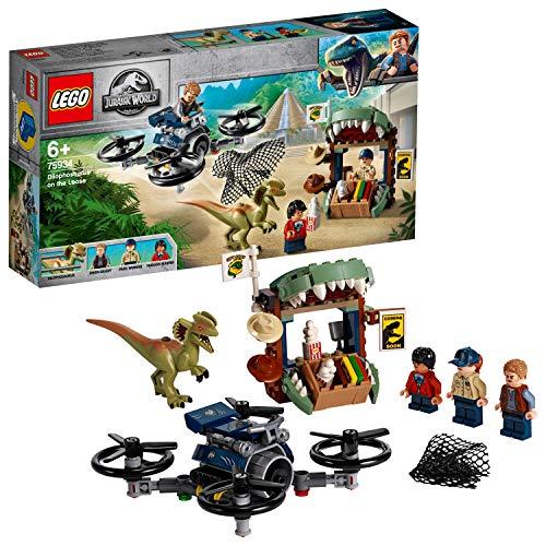 LEGO 75934 Jurassic World Dilophosaurus auf der Flucht Set mit 3 Minifiguren, Drohne und Dinosaurier Figur